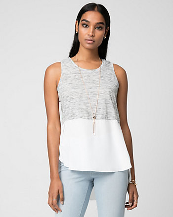 Mélange Jersey Scoop Neck Top