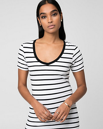 Stripe Jersey V-Neck Ringer T-Shirt