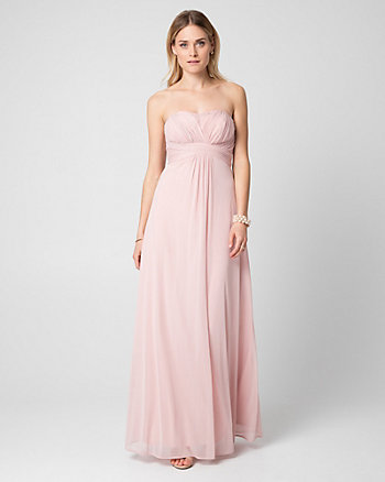 Knit Sweetheart Pleated Gown
