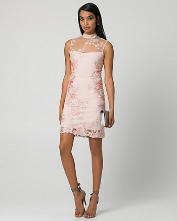 Embroidered Mesh Illusion Cocktail Dress