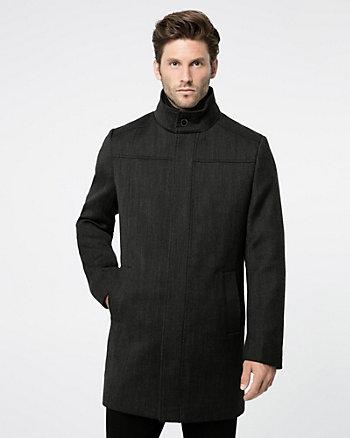Textured Wool Twill Crombie Coat