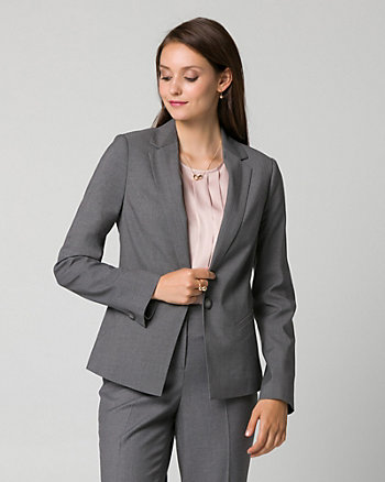 Gabardine Notch Collar Blazer