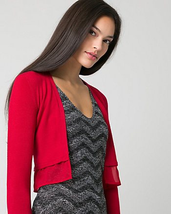 Knit & Woven Open-Front Shrug