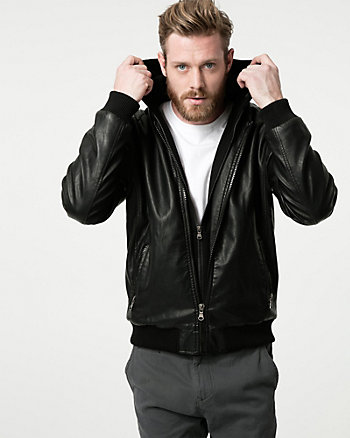 Tonal Leather-Like Bomber Jacket