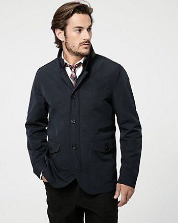 Cotton Blend Mock Neck Jacket