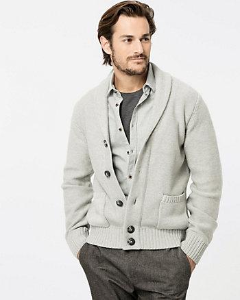 Textured Cotton Shawl Collar Cardigan