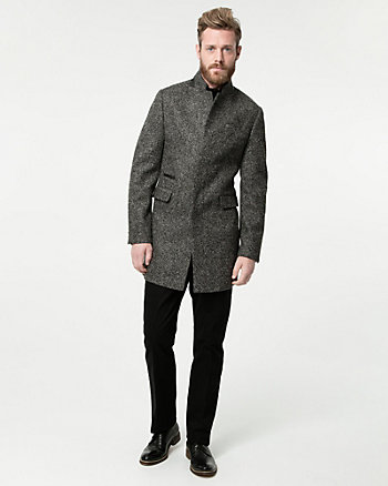 Bouclé Mock Neck Crombie Coat