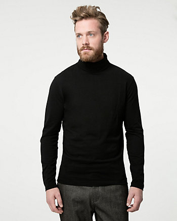 Cotton Jersey Turtleneck Top