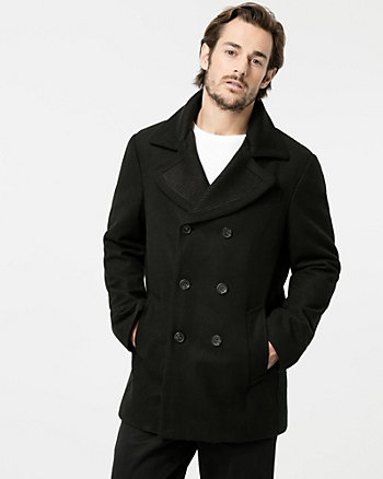Rib Melton Notch Collar Peacoat