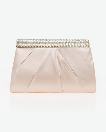 Jewel Embellished Satin Clutch