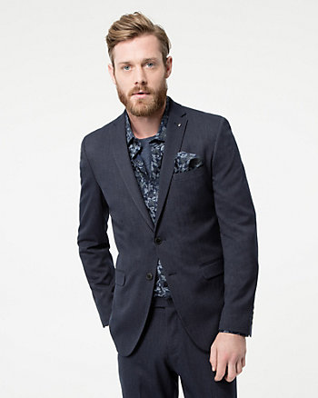 Tonal Woven Notch Collar Blazer