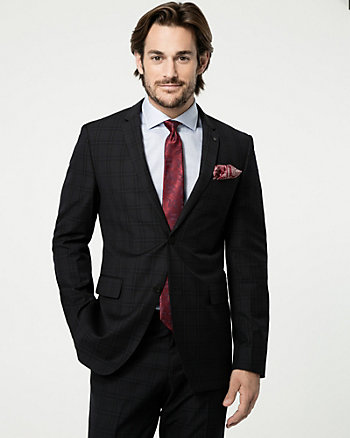 Grid Check Print Wool Blend Blazer