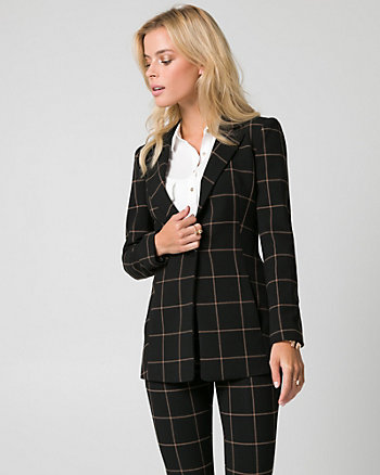 Grid Check Print Double Weave Blazer