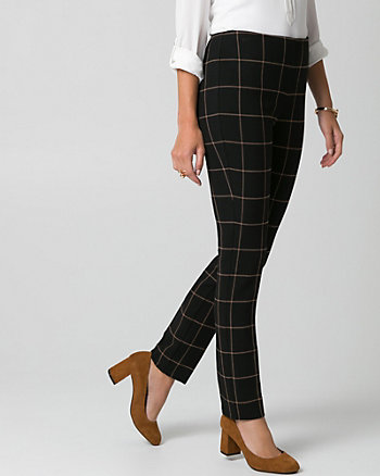 Grid Check Print Double Weave Slim Leg Pant