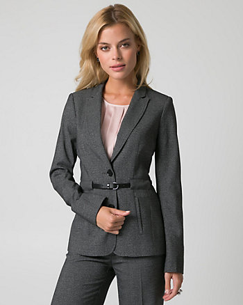 Tweed Notch Collar Belted Blazer