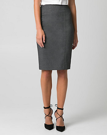 Tweed Viscose Blend Pencil Skirt