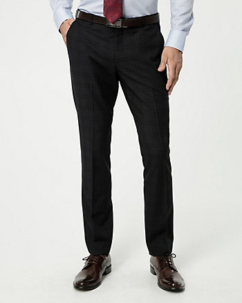 Grid Check Print Wool Blend Tapered Pant