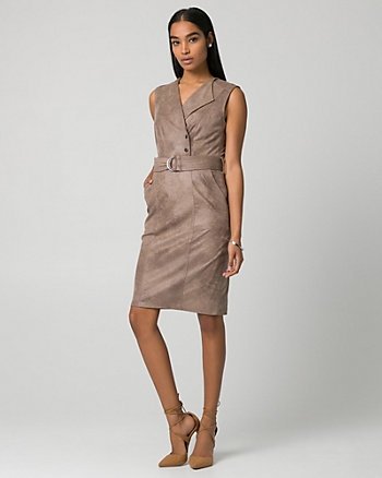 Suede-Like Belted Shirtdress