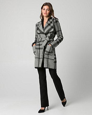 Check Print Wool Blend Open Collar Coat