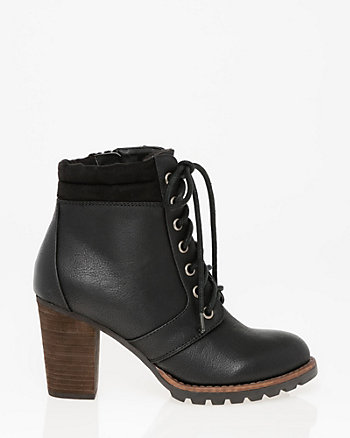 Nubuck Leather-Like Round Toe Bootie