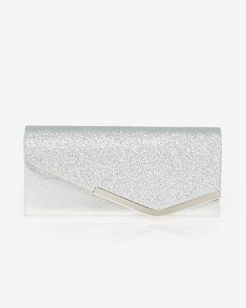 Glitter Asymmetrical Flapover Clutch