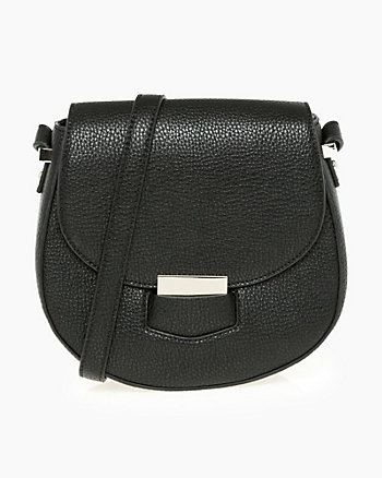 Leather-Like Flapover Satchel