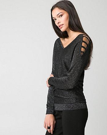 Metallic Knit Cold Shoulder Sweater