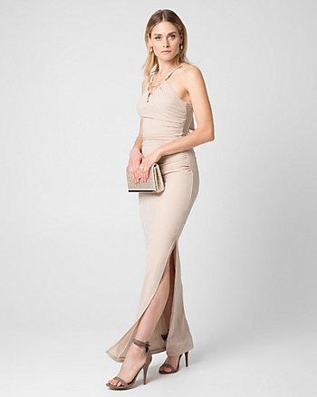 Metallic Knit Halter Gown