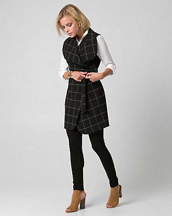 Grid Check Print Double Weave Belted Vest