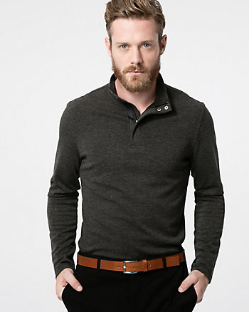 Cut & Sew Knit Mock Neck Sweater