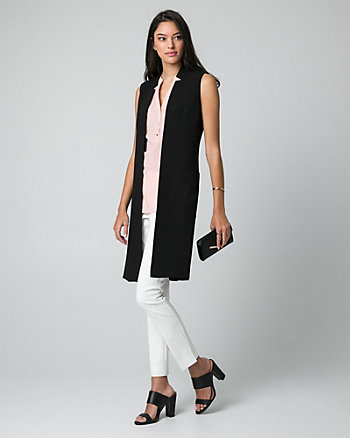 Crêpe Inverted Collar Vest