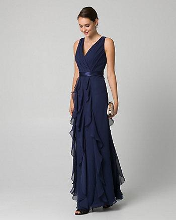 Chiffon V-Neck Gown