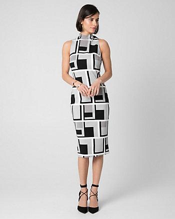 Geo Print Mock Neck Shift Dress