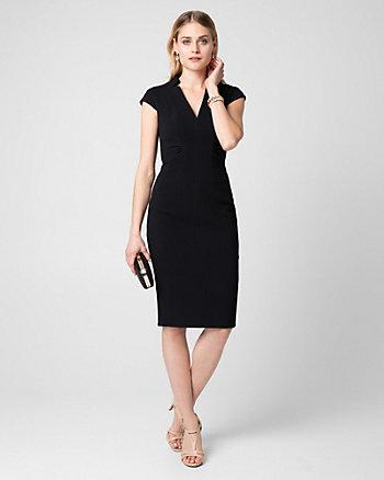 Double Weave V-Neck Shift Dress