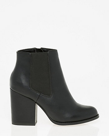 Leather-Like Round Toe Ankle Boot