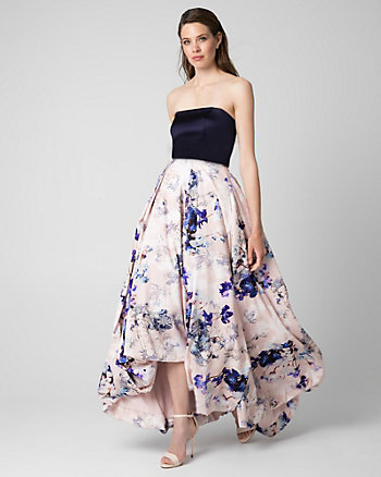 Floral Print Satin Strapless Gown