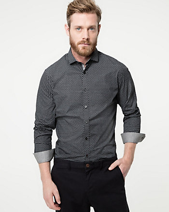 Novelty Print Cotton Slim Fit Shirt