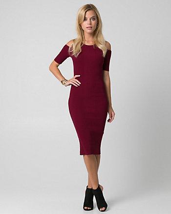 Rib Knit Scoop Neck Midi Dress
