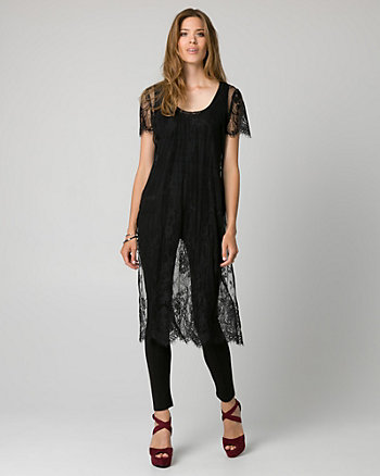 Lace Scoop Neck Slit Tunic