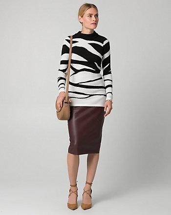 Zebra Print Viscose Blend Tunic Sweater
