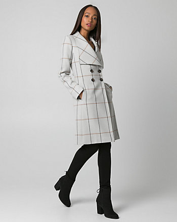 Grid Check Print Double Weave Coat