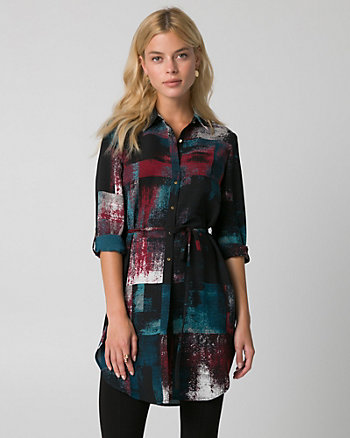 Abstract Print Crêpe de Chine Slit Tunic