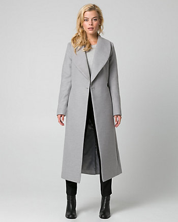 Cashmere-Like Shawl Collar Wrap Coat