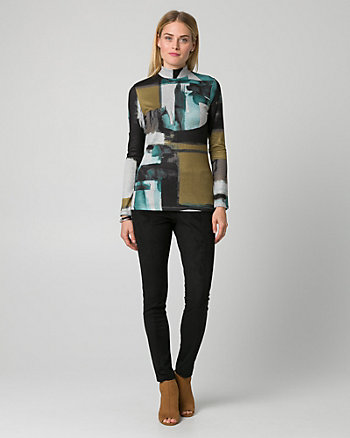 Abstract Print Cut & Sew Knit Mock Neck Top