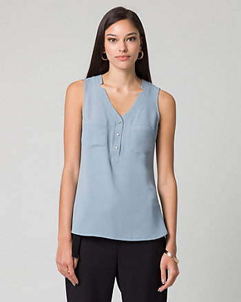 Crêpe de Chine & Viscose Top