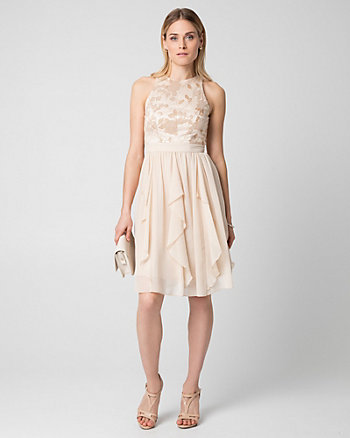 Lace & Chiffon Halter Cocktail Dress