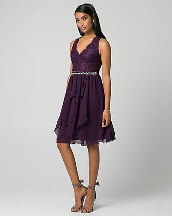Lace & Chiffon V-Neck Cocktail Dress