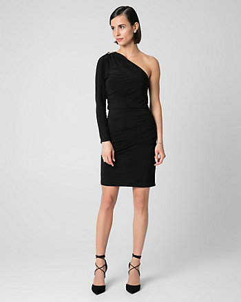 Knit One Shoulder Cocktail Dress