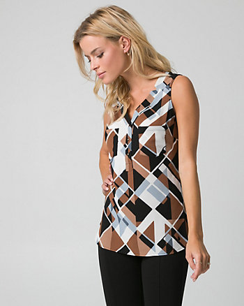 Geo Print Crêpe de Chine & Viscose Top