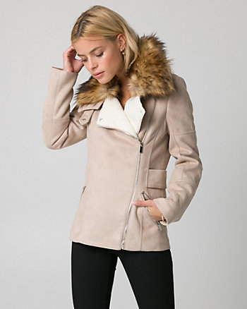 Faux Fur & Suede-Like Asymmetrical Jacket